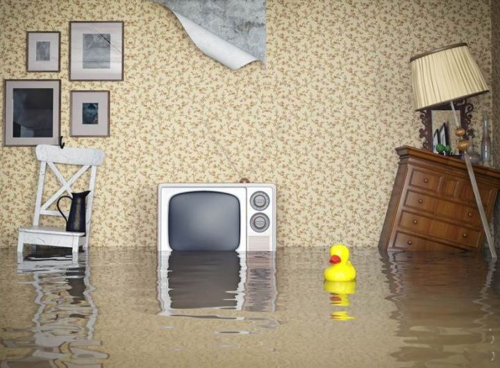 flooded lounge room with old-style TV, furniture & floating rubber duck in foreground